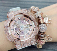 Luxury Watch Baby-G Crystal Bling BA-110 Pinkgold Iced Out