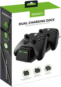 GameWill Dual Charging Dock with 2 x Rechargeable Battery Packs [1200 mAh] for Xbox Series X and Series S (also compatible with Xbox One X/S) - Black