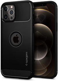 Spigen Rugged Armor designed for iPhone 12 case and iPhone 12 PRO case/cover (6-1 inch) - Matte Black