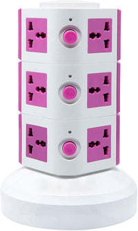 3 Layers Extension Outlet With 2 USB Ports, Universal Vertical Multi Socket, 2.8M Cord and UK-Plug Multi Charging Station (Pink)