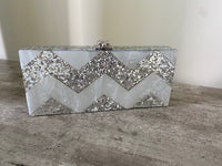 Zigzag Silver Clutch Bag