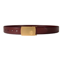 Burgundy Italian Leather Belt Strap + Brashy Imperial - Gold Buckle