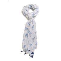 Scarf Affair Flamingo Blue Tassel