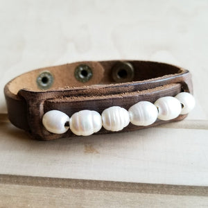 Dusty Leather Narrow Cuff with Genuine Freshwater Pearls