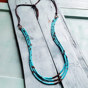Triple Strand Turquoise & Wood Necklace w/ Leather Ties