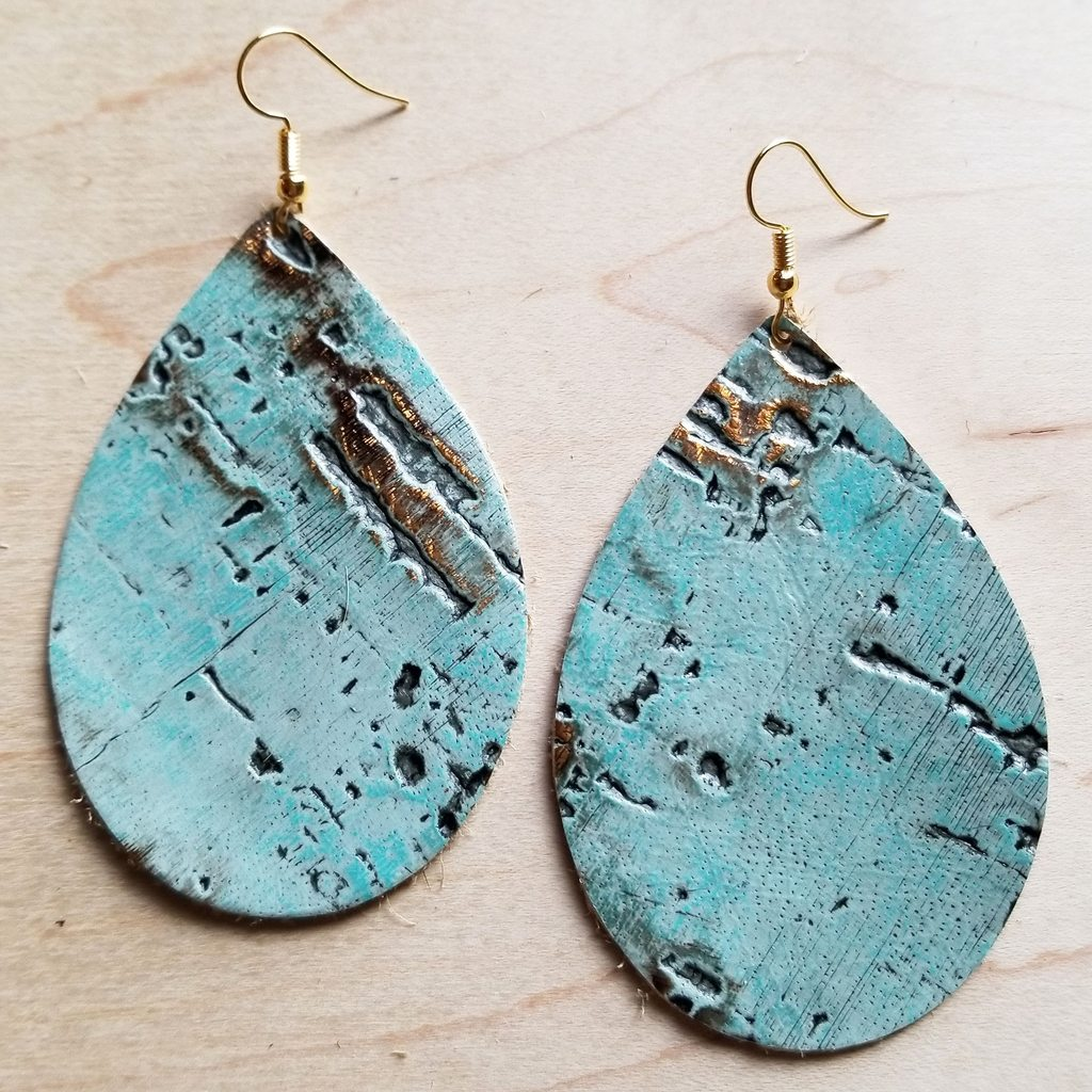 Leather Teardrop Earrings in Turquoise Metallic