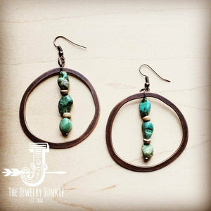 Copper Hoop Earrings w/ Natural Turquoise and Wood
