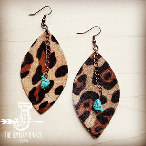 Leather Oval Earrings Leopard w/ Turquoise Drops