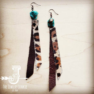 Leather Rectangle Earrings w/ Leopard & Turquoise