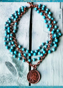 Blue Turquoise Collar-Length Necklace w/ Indian Head Coin- RESTOCK