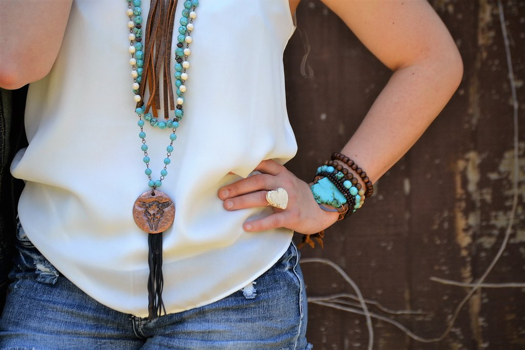 Turquoise Bracelet w/ Stone Slab & Adjustable Ties