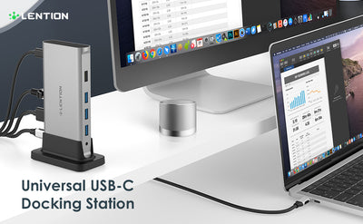 LENTION USB C Docking Station (CB-D53, Space Gray)