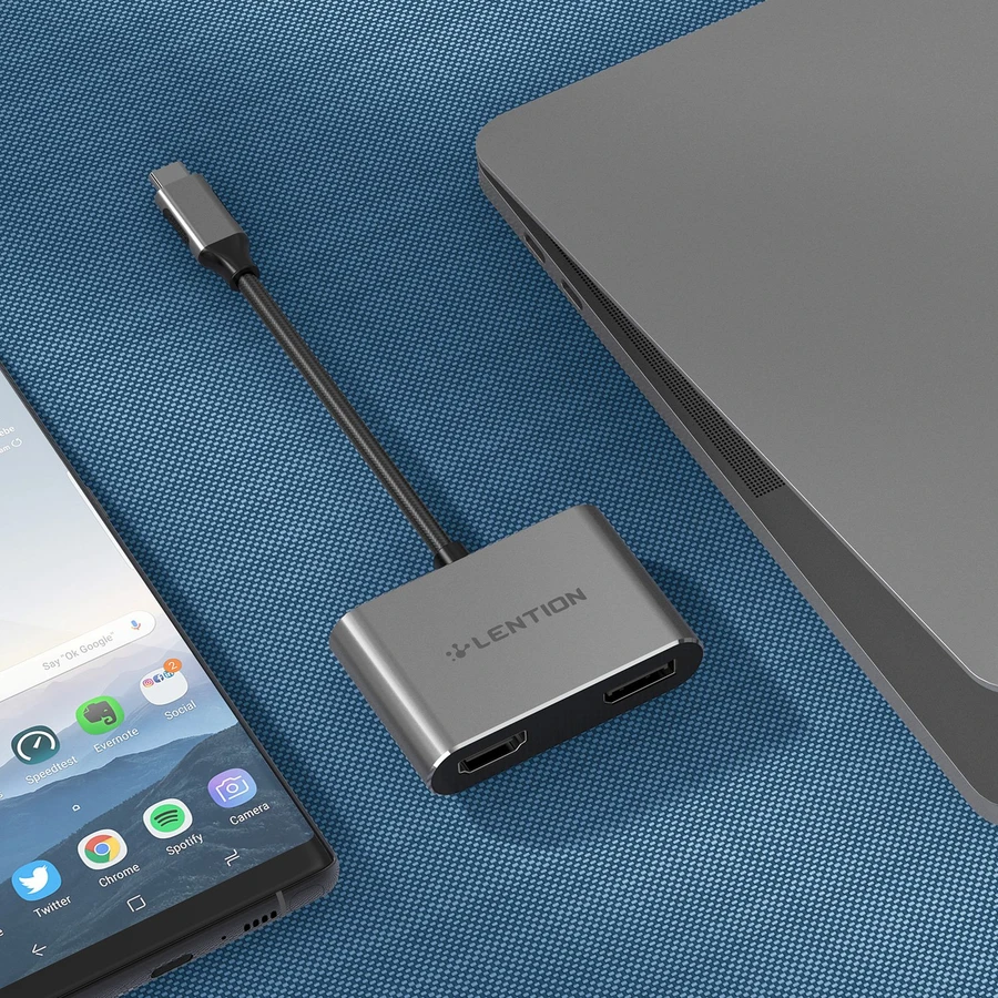 LENTION USB-C to HDMI & DisplayPort, Supports Dual 4K/30Hz Output