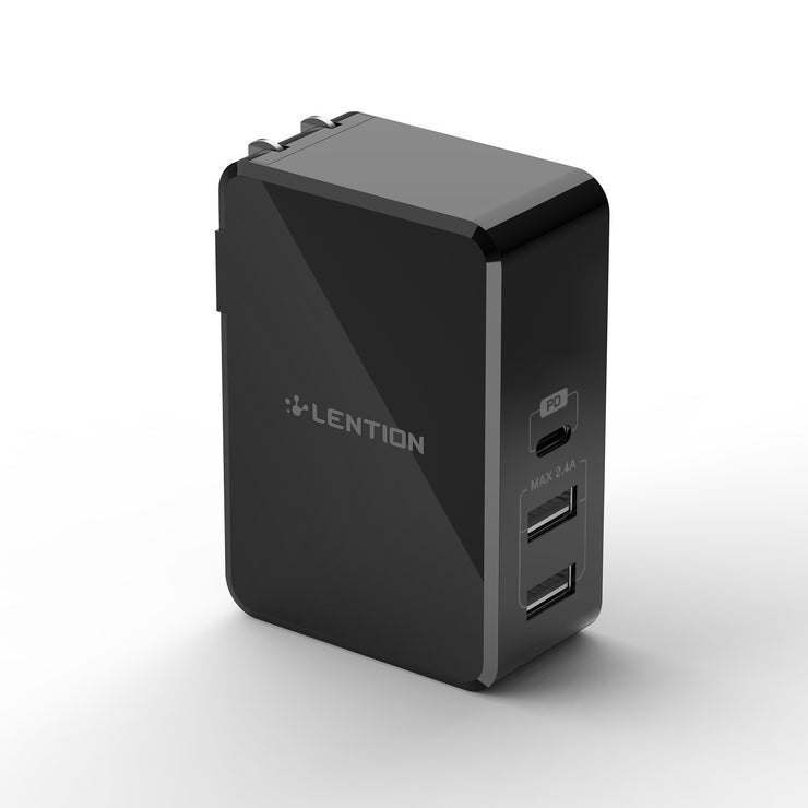 LENTION 45W USB-C Multiple Ports Wall Charger with Fast Charge PD Adapter (TC-070PD)