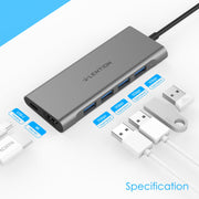 LENTION 6 in 1 Long Cable USB-C Hub with 4K HDMI, 4 USB 3.0, and PD (CB-C35H-1M) (US/UK/CA Warehouse in Stock)