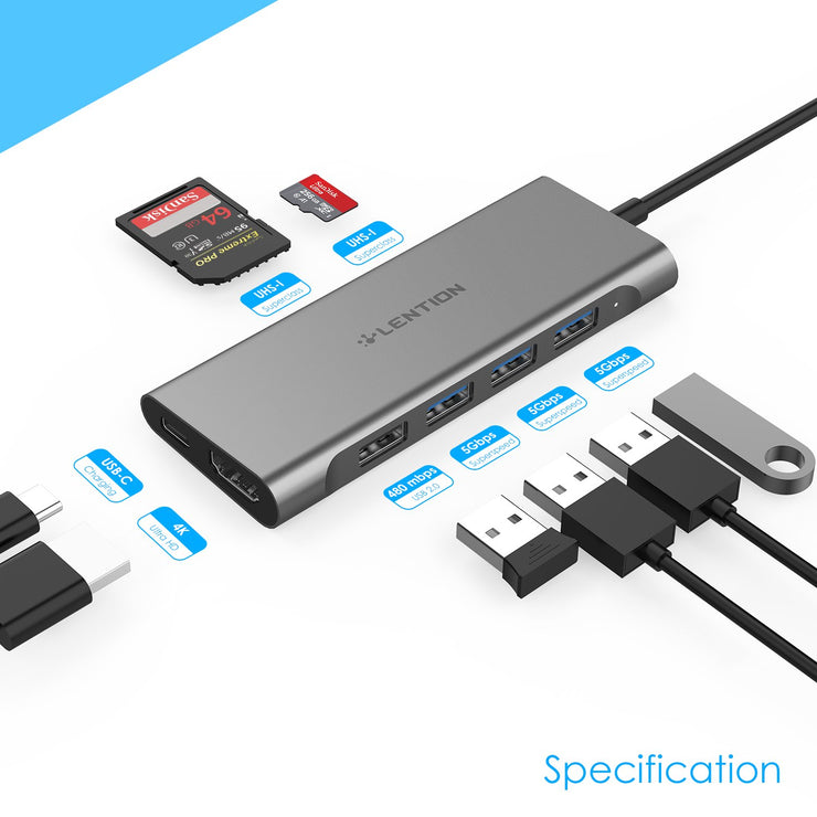 LENTION USB C Multiport Hub with 4K HDMI, 4 USB-A, SD Card 3.0 Reader and PD(CB-C36) (US/UK/CA Warehouse In Stock)