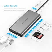 LENTION USB C Digital AV Multiport Hub with 4K HDMI, VGA, USB 3.0, Card Reader, Charging, Gigabit Ethernet, Aux Adapter Compatible 2020-2016 MacBook Pro, New Mac Air/Surface and More Equipments (US Warehouses in Stock)