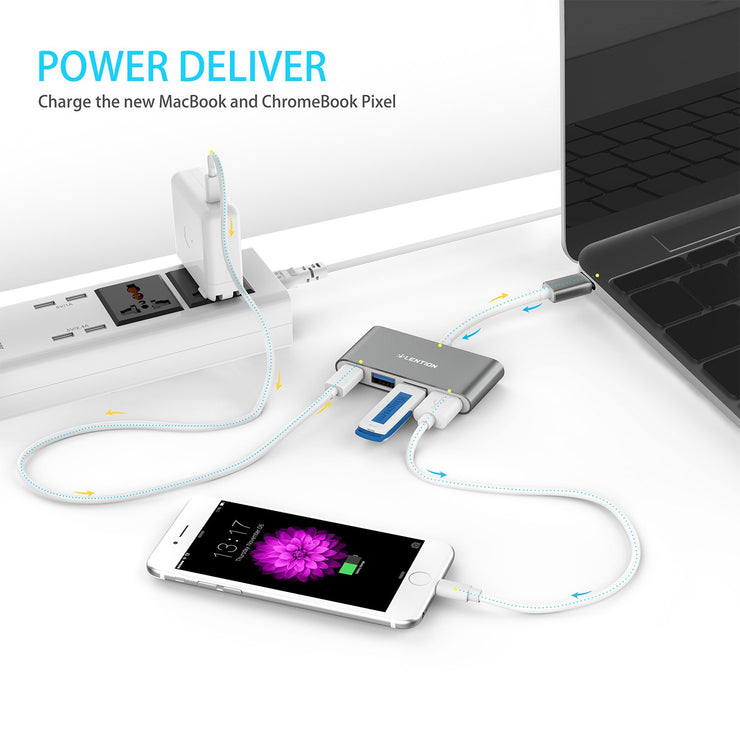 Lention.com: 4-in-1 USB-C Hub With 3 USB 3.0 and PD Charging