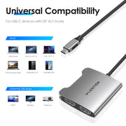 LENTION USB C to Dual HDMI Adapter, Supports Single 4K@30Hz and Dual 4K@30Hz MST - ($35.99, SPACE GRAY) | Lention.com