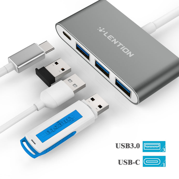 LENTION 4-in-1 USB-C Hub With 3 USB 3.0 and PD Charging
