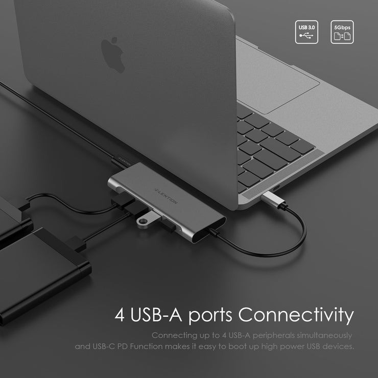 Lention.com — CB-C35H-1M —  Long Cable USB-C Multi-Port Hub, Space gray/Silver/Rose gold,1m+0.2m-US/UK/CA Warehouse in Stock