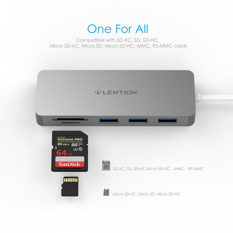 LENTION 3-Port USB 3.0 Type A Hub with SD/Micro SD Card Reader for Micro/SDXC/SDHC/SD/UHS-I Cards, Multiport Adapter