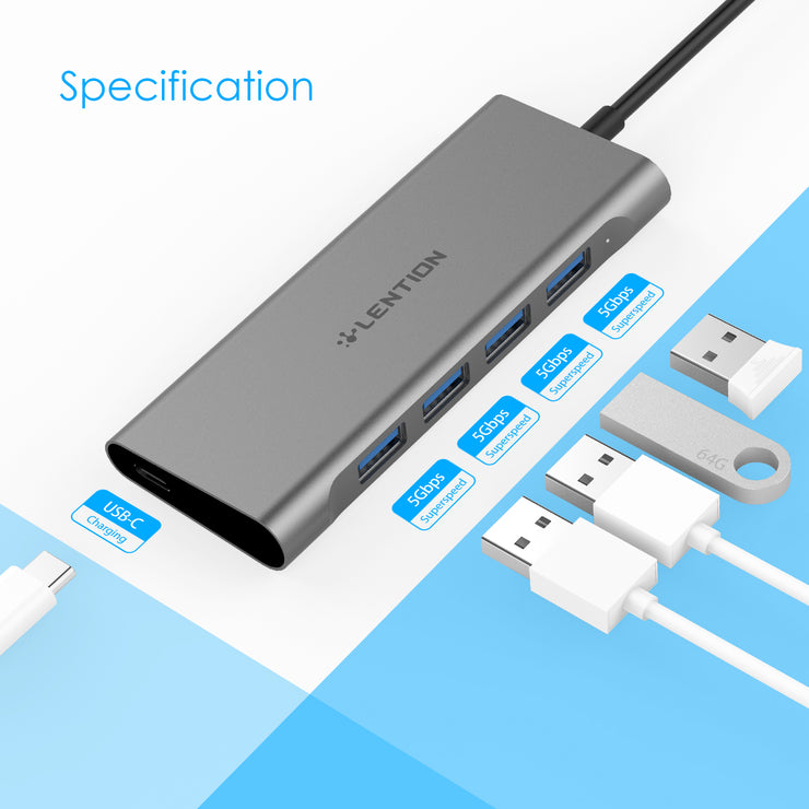 LENTION USB C Hub with 4 USB 3.0 Ports and Type C Charging Adapter (US Warehouse in Stock)