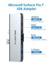 LENTION 5-in-1 USB C Hub for Surface Pro 7 Only, with 4K/60Hz HDMI, 2 USB 3.0, 60W Type C Charging Multi-Port Adapter,Silver/Black(CB-CS35)|Lention.com