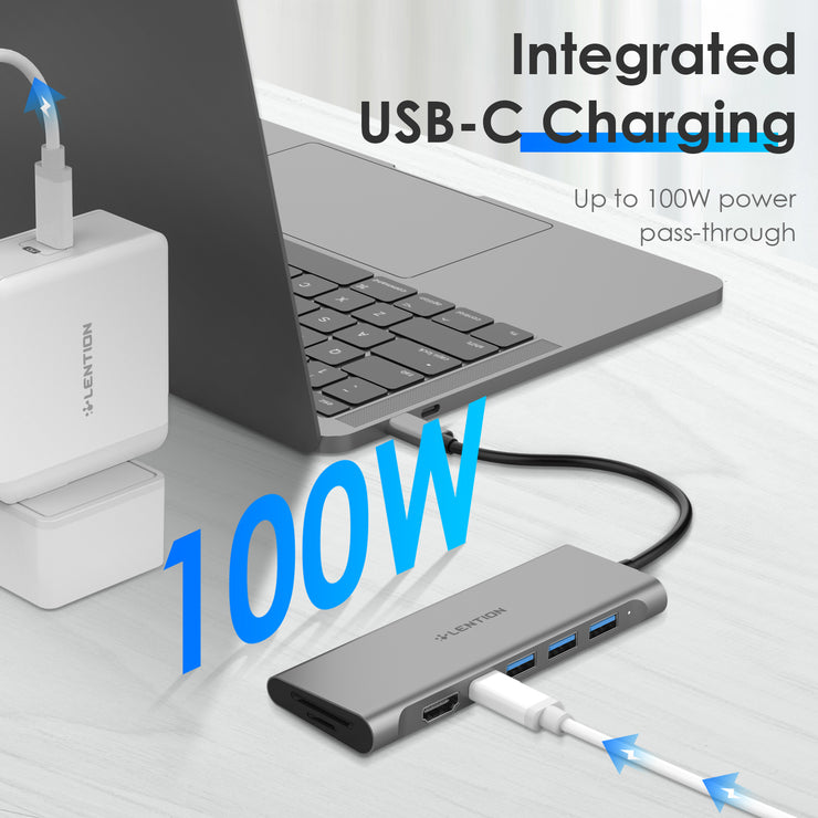 LENTION 7-in-1 USB C Hub with 4K HDMI and SD Card Reader More (CB-C36B) (US/UK/CA warehouse in Stock)