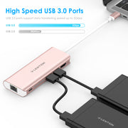lention rose gold hub, high speed usb 3.0 ports, support data transferring spped up to 5Gbps
