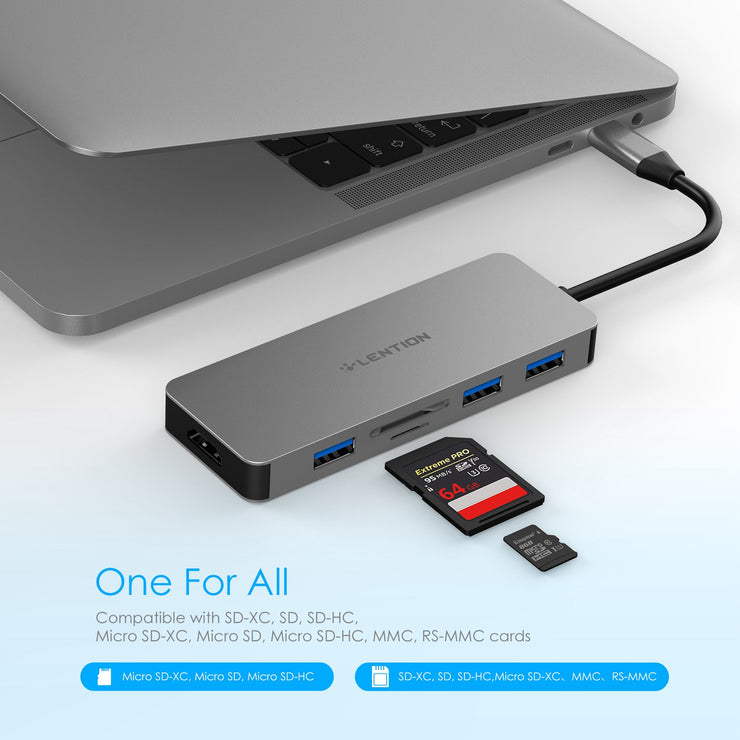 LENTION USB C Hub with 4K HDMI, 3 USB 3.0, SD 3.0 Card Reader  - US/UK/CA Warehouse In Stock - Laptop USB C Hub | Lention.com