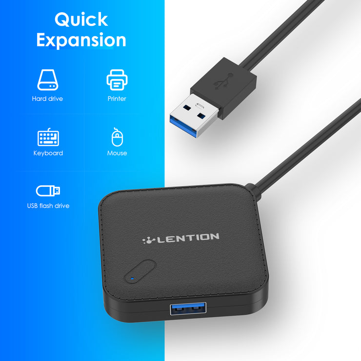 LENTION 3ft Long Cable USB 3.0 Hub with 4 USB 3.0 Ports (H11-1M) (US Warehouse In Stock)