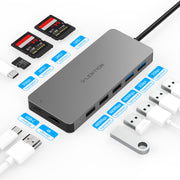 LENTION USB C Hub with 3-Slot SD 3.0 Card Reader, 3 USB 3.0+2 USB 2.0, 4K HDMI, Type C Data/Charging Adapter Compatible 2020-2016 MacBook Pro, New Mac Air/Surface, Chromebook, etc (CB-C19)