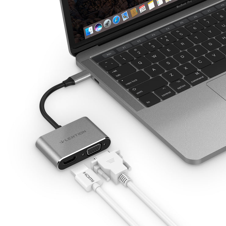 LENTION USB-C to HDMI&VGA Adapter - Space gray/Silver | Lention.com