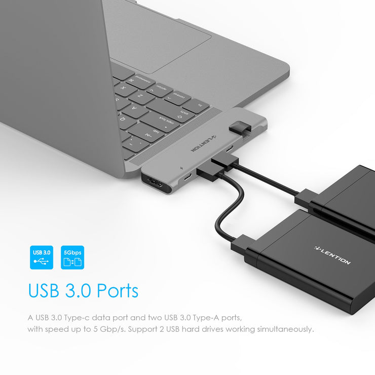 LENTION USB C Portable Hub with 100W Power Delivery, 40Gbps USB C Data, 4K HDMI, 2 USB 3.0 and Gigabit Ethernet Adapter