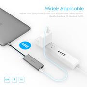 Long Cable USB-C Multi-Port Hub, with 4K HDMI Output, 4 USB 3.0, Type C Charging Adapter - Space gray/Silver/Rose gold|Lention.com