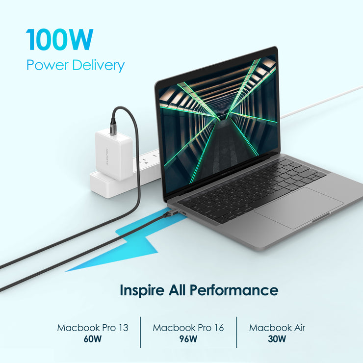 Lention.com: Lention.com USB C 3.1 Gen 2 3.3ft Cable - 100W Charging+10Gbps Data Braided Cord - Space gray  (CCN-100W1M): Electronics
