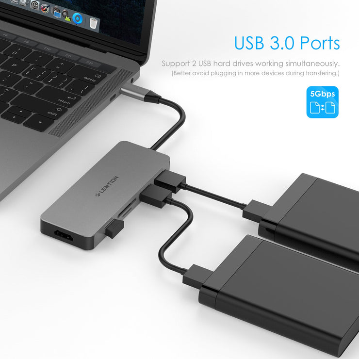 LENTION USB C Hub with 4K HDMI, 3 USB 3.0, SD/Micro SD Card Reader (CB-C18) (US/UK/CA Warehouse In Stock)