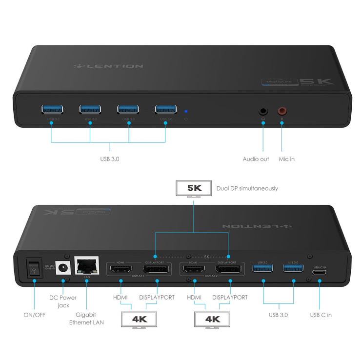 Lention USB-C Universal docking station,(D92) (US warehouse in stock): Lention.com: Computers &  Accessories