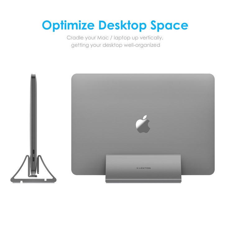 Lention.com: [Stand-LS1] Vertical Desktop Stand, Fits MacBook (12-inch, Early 2015 - 2018) (Space gray): Electronics