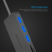 LENTION 3-Port USB 3.0 Type A Hub +SD/Micro SD Card Reader - Lention (US/UK/CA Warehouse In Stock)
