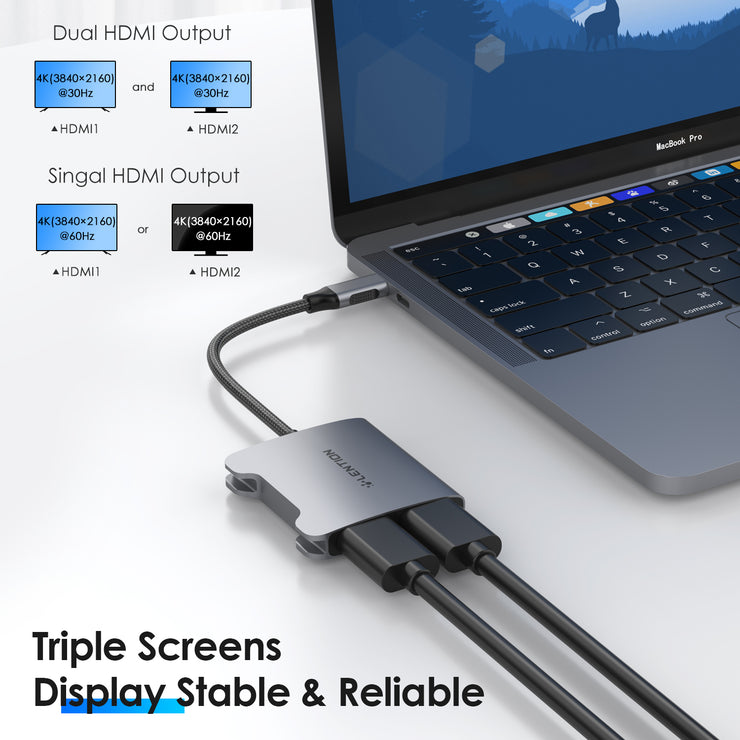 LENTION USB C to Dual HDMI Adapter, Single 4K30Hz and Dual 4K30Hz MST (CB-CF53H, SPACE GRAY)