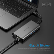 LENTION USB C Gigabit Ethernet Hub with VGA, HDMI, 3.5mm, SD Reader and More (CB-C73) (US/UK Warehouses in Stock)