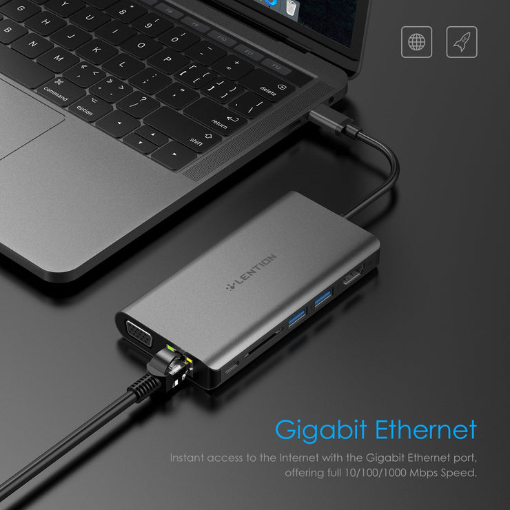 LENTION USB C Digital AV Multiport Hub - US/UK/CA Warehouse In Stock - Laptop USB C Hub | Lention.com
