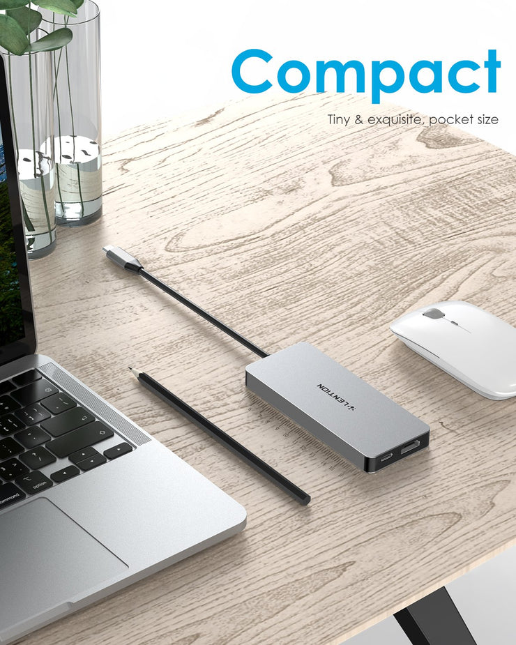 LENTION USB C Hub with 4 USB 3.0, Dual 4K HDMI and PD charging (CB-C45) (US Warehouse In Stock)