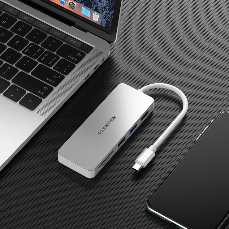 LENTION USB C Hub with 3 USB 3.0, SD/Micro SD Card Reader and Charging Adapter (US Warehouse in Stock)