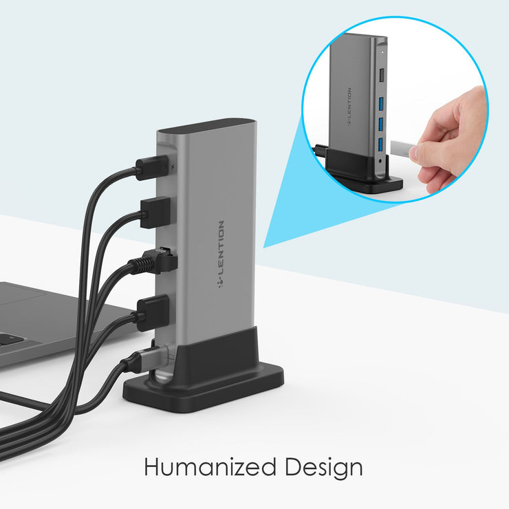 Powerful Than Most Hubs - The LENTION Docking Station Provides 100W Power Pass with Long Cable-Through, 4K HDMI, Gigabit Ethernet, 3.5mm Audio, 3 USB 3.0, and 2 USB 2.0 for better Compatibility (CB-C53) (US Warehouse in Stock)