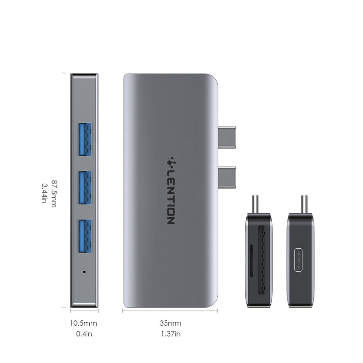 LENTION USB C Portable Hub with USB 3.0, SD Card Reader and 100W PD (CS62)