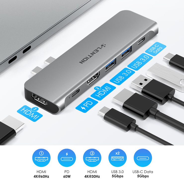 LENTION USB C Portable Hub - with 60W Power Delivery, 2 USB 3.0 & USB C Data| Lention.com