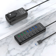 Powered 7 USB 3.0 Multiport Hub with 3 Smart Charging at Lention.com